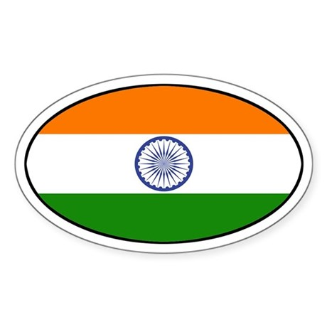 India (Indian) Flag Oval Sticker