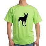 Bull Terrier Silhouette Green T-Shirt