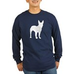 Bull Terrier Silhouette Long Sleeve Dark T-Shirt