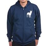 Bull Terrier Silhouette Zip Hoodie (dark)