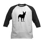 Bull Terrier Silhouette Kids Baseball Jersey