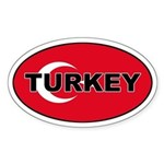 Turkey (Turkish Flag) Oval Sticker