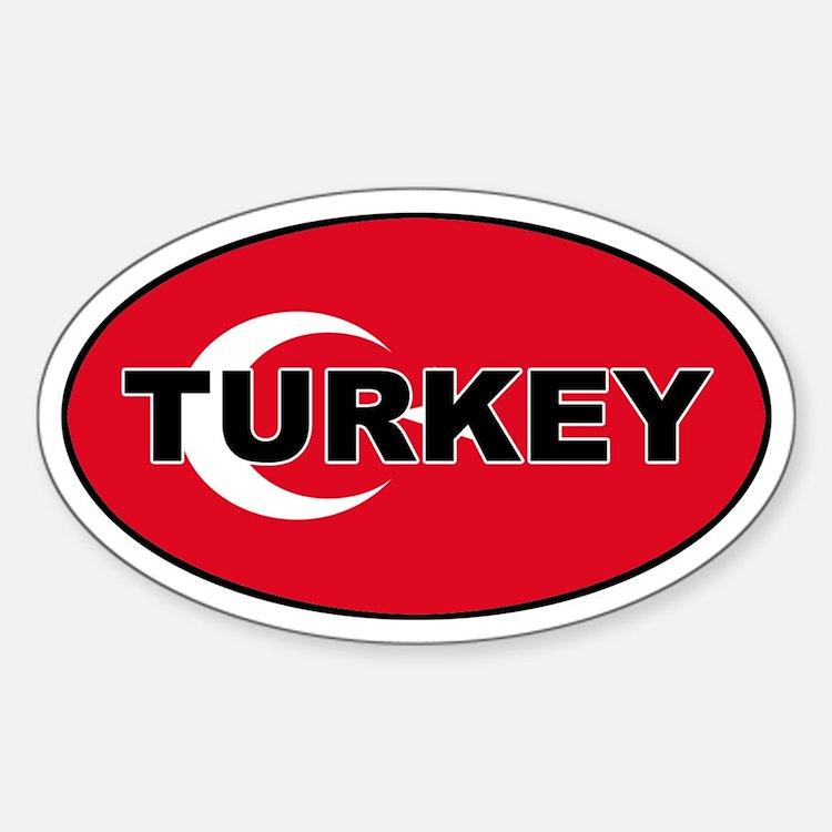 Turkey (Turkish Flag) Oval Decal