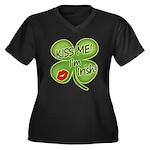 Kiss Me I'm Irish Women's Plus Size V-Neck Dark T-