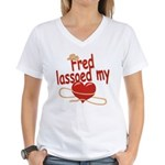 Fred Lassoed My Heart Women's V-Neck T-Shirt