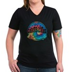 Grand Lake Old Circle Women's V-Neck Dark T-Shirt