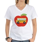 100th Day of School Apple Women's V-Neck T-Shirt
