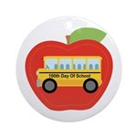 100th Day of School Apple Ornament (Round)