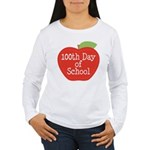 100th Day Of School Red Apple Women's Long Sleeve