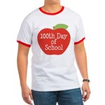 100th Day Of School Red Apple Ringer T