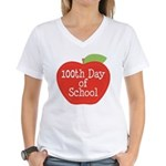 100th Day Of School Red Apple Women's V-Neck T-Shi