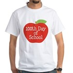 100th Day Of School Red Apple White T-Shirt