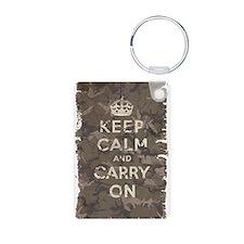 Keep Calm and Carry On camo v Keychains