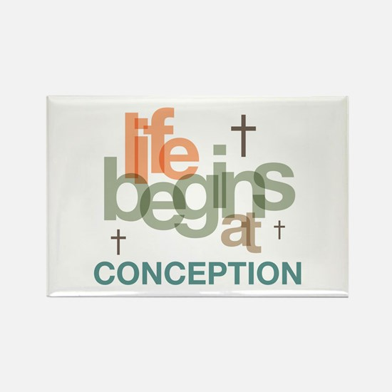 Life Begins At Conception Rectangle Magnet