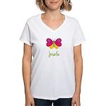 Josefa The Butterfly Women's V-Neck T-Shirt