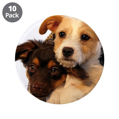 """Puppies 3.5"""" Button (10 pack)"""