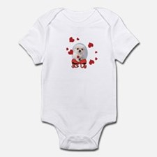 Infant Bodysuit with cute puppy and hearts.