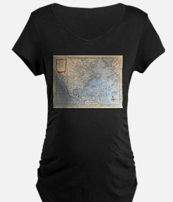 Vintage Map of North America (17 Maternity T-Shirt