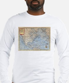 Vintage Map of North America ( Long Sleeve T-Shirt