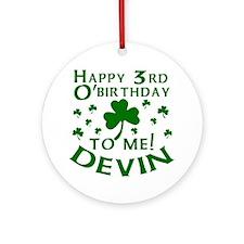 Devin's 3rd Birthday Ornament (Round)