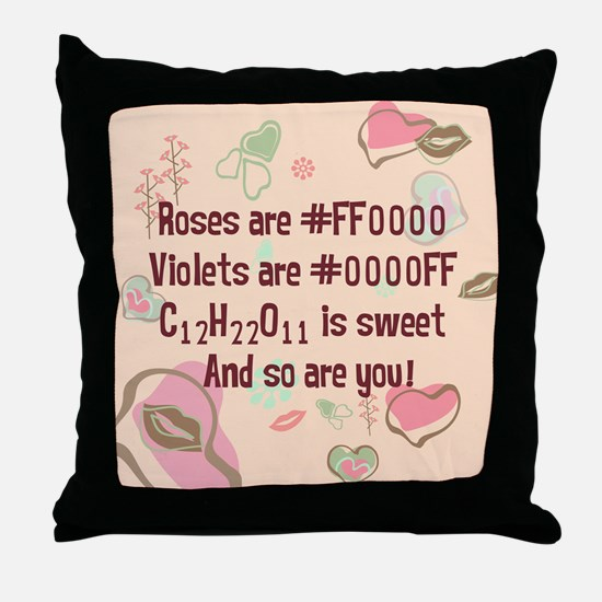 Geek Roses are Red Retro Throw Pillow