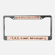 Geek Roses are Red Retro License Plate Frame