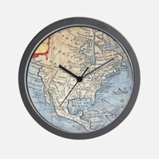 Vintage Map of North America (1747) Wall Clock