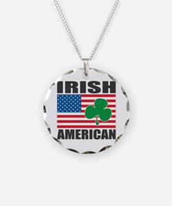 Irish American Flag Necklace Circle Charm