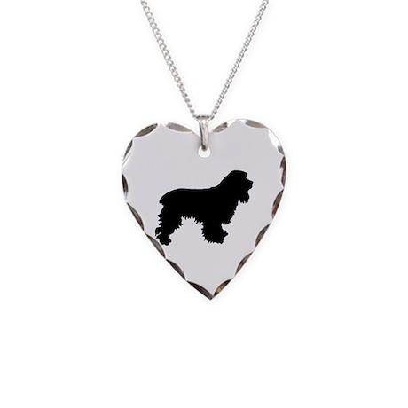 Cocker Spaniel Silhouette Necklace Heart Charm