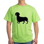 Dachshund Silhouette Green T-Shirt