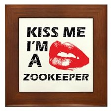Kiss me I'm a Zookeeper Framed Tile