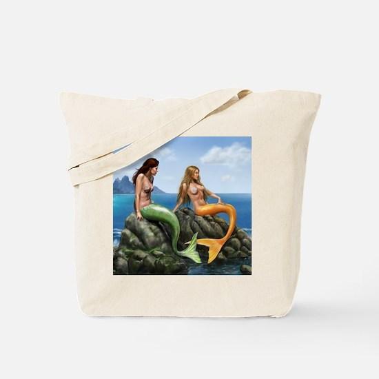 Pensive Mermaids on Rocks Tote Bag