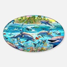 Dolphin Reef Sticker (Oval)
