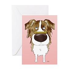 Red Merle Aussie Valentine Greeting Card