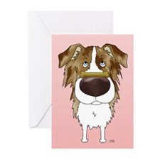 Red Merle Aussie Valentine Greeting Cards (Pk of 2