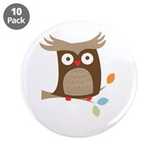"Tree Tops Owl 3.5"" Button (10 pack)"