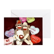 Ernie the Sock Monkey Heart Greeting Card