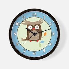 Tree Tops Owl Wall Clock - Blue