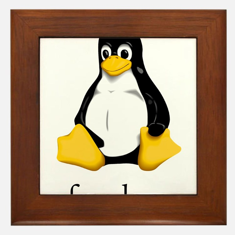 Cute Linux tux Framed Tile