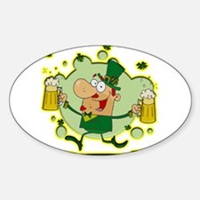 Leprechaun and Two Beers Decal