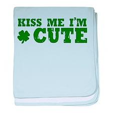 Kiss Me I'm Cute baby blanket
