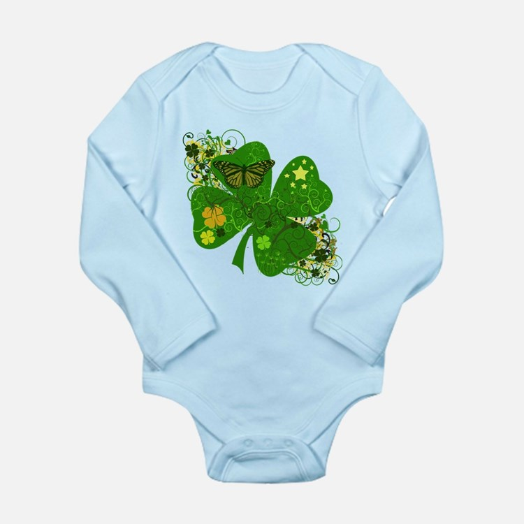 Lucky 4 Leaf Clover Irish Long Sleeve Infant Bodys