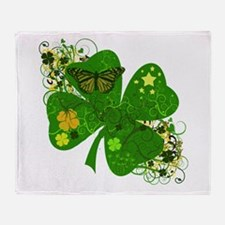 Lucky 4 Leaf Clover Irish Throw Blanket