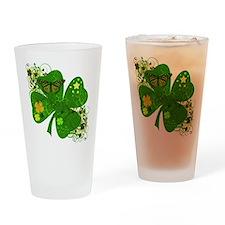 Lucky 4 Leaf Clover Irish Drinking Glass