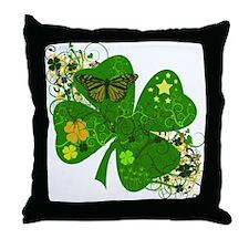Lucky 4 Leaf Clover Irish Throw Pillow