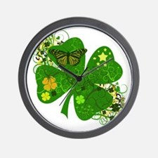 Lucky 4 Leaf Clover Irish Wall Clock