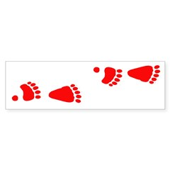 Red Black Bear Tracks Bumper Sticker