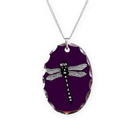Dragonfly Necklace Oval Charm