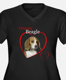 Beagle Women's Plus Size V-Neck Dark T-Shirt