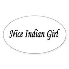 """Nice Indian Girl"" Oval Decal"